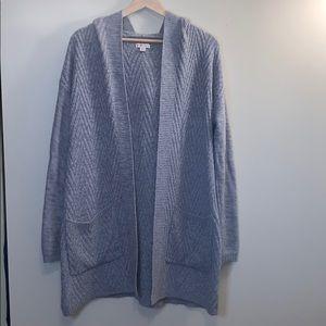 Long Hooded Gray Cardigan